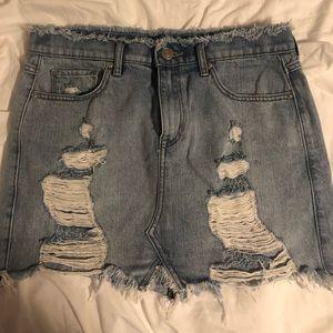 express high waisted distressed denim skirt